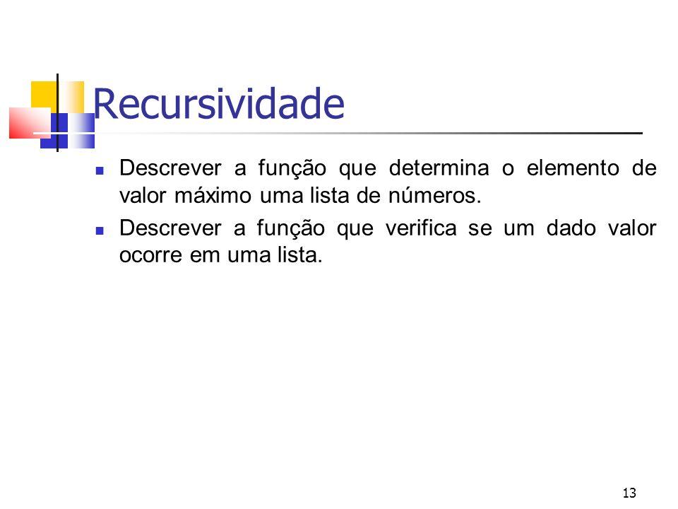 13 Recursividade Descrever a função que determina o elemento de valor máximo uma lista de números.