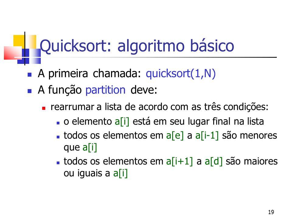 19 Quicksort: algoritmo básico A primeira chamada: quicksort(1,N) A função partition deve: rearrumar a lista de acordo com as três condições: o elemento a[i] está em seu lugar final na lista todos os elementos em a[e] a a[i-1] são menores que a[i] todos os elementos em a[i+1] a a[d] são maiores ou iguais a a[i]