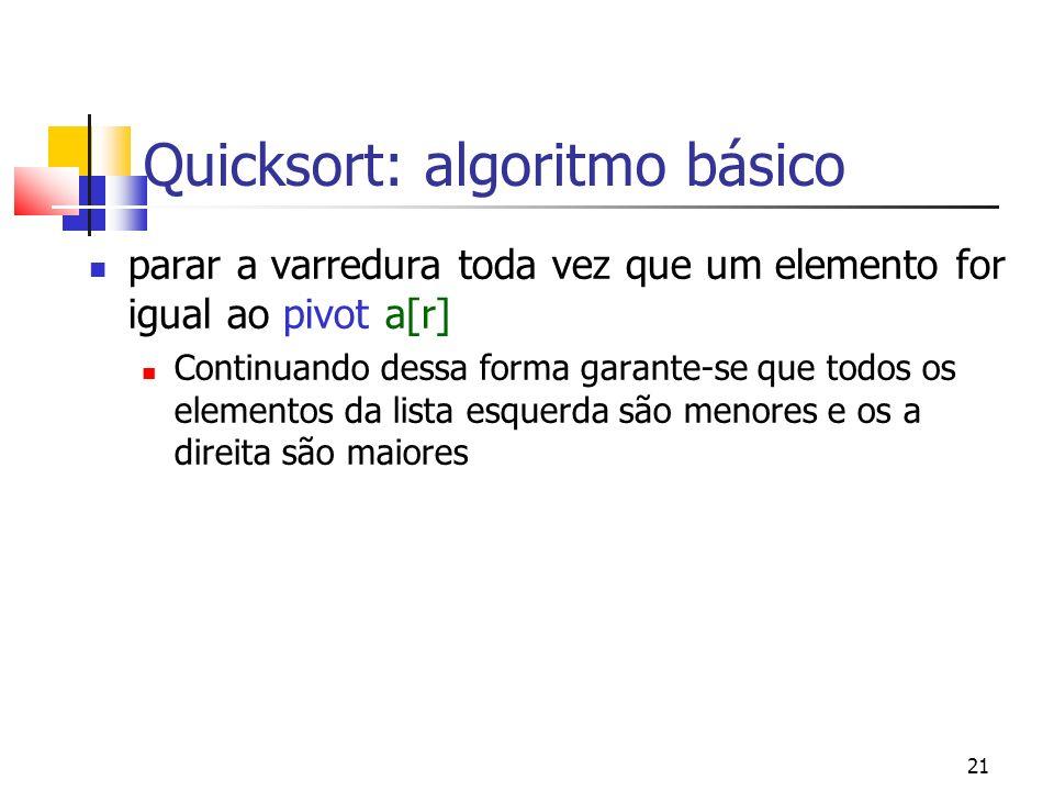 21 Quicksort: algoritmo básico parar a varredura toda vez que um elemento for igual ao pivot a[r] Continuando dessa forma garante-se que todos os elem