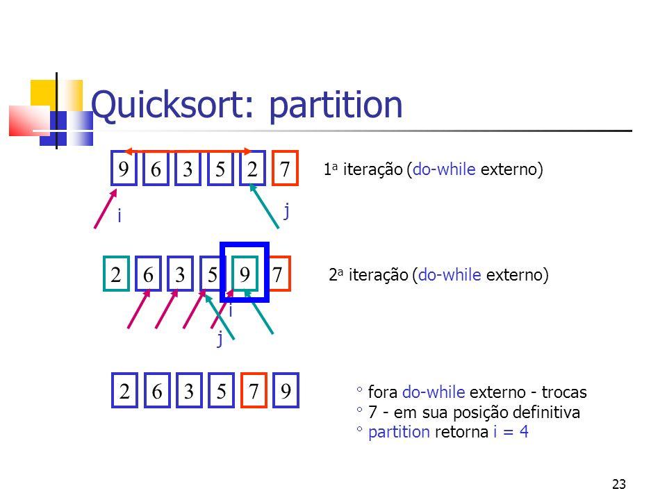 23 Quicksort: partition 963527263597263579 fora do-while externo - trocas 7 - em sua posição definitiva partition retorna i = 4 i j i j 1 a iteração (do-while externo) 2 a iteração (do-while externo)
