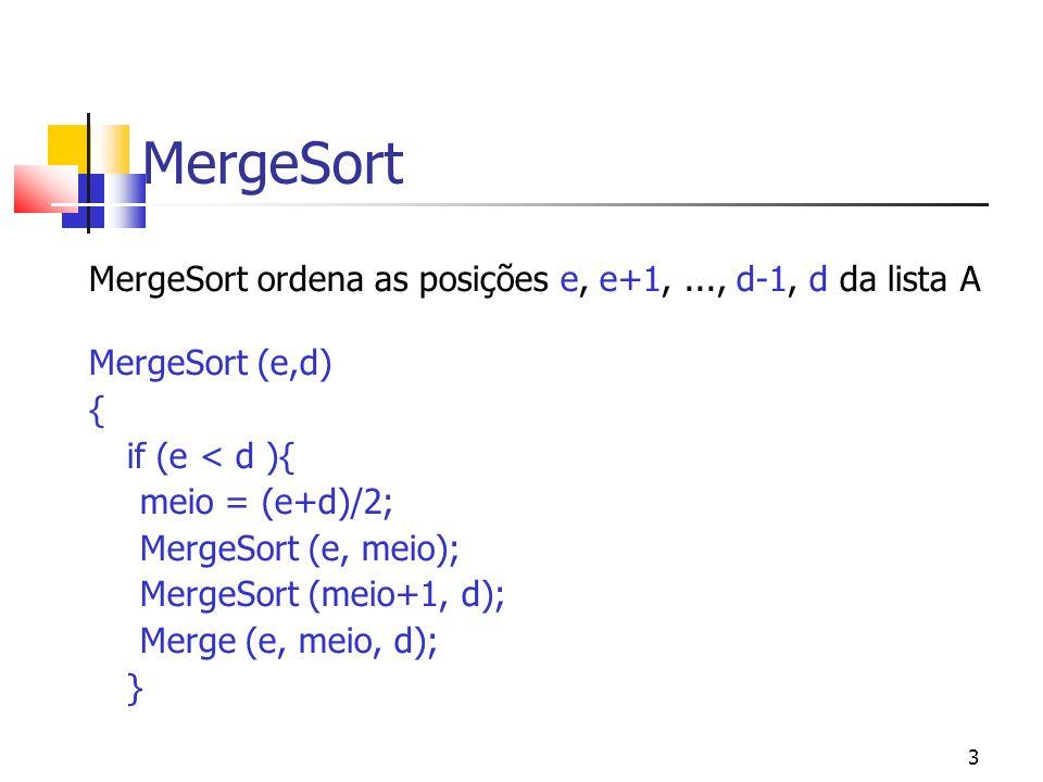 3 MergeSort MergeSort ordena as posições e, e+1,..., d-1, d da lista A MergeSort (e,d) { if (e < d ){ meio = (e+d)/2; MergeSort (e, meio); MergeSort (meio+1, d); Merge (e, meio, d); }