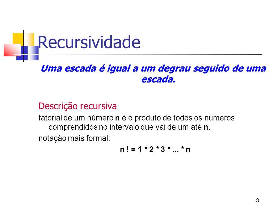8 Recursividade Uma escada é igual a um degrau seguido de uma escada. Descrição recursiva fatorial de um número n é o produto de todos os números comp