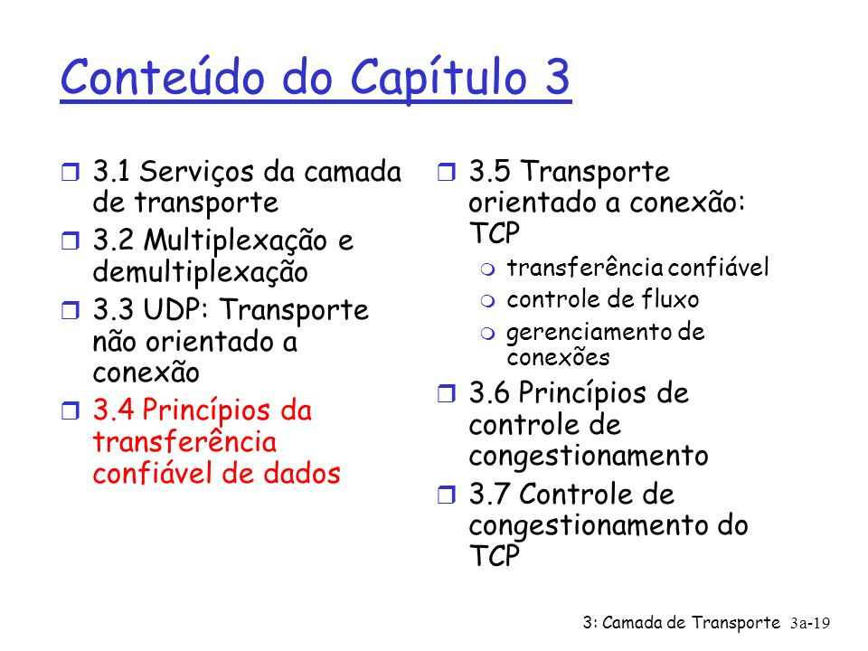 3: Camada de Transporte3a-19 Conteúdo do Capítulo 3 r 3.1 Serviços da camada de transporte r 3.2 Multiplexação e demultiplexação r 3.3 UDP: Transporte