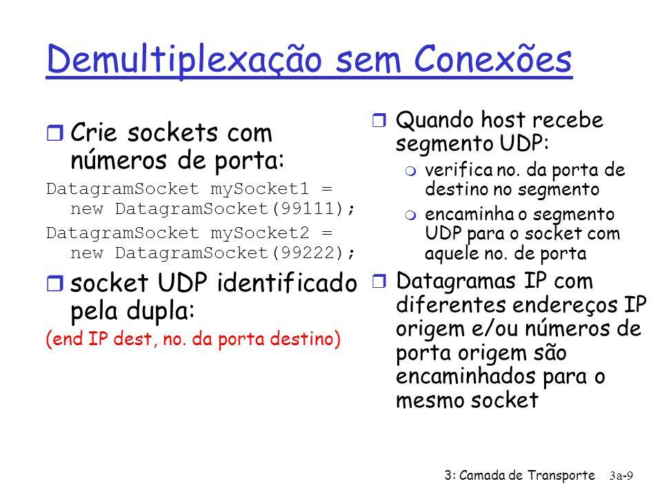 3: Camada de Transporte3a-10 Demultiplexação sem Conexões (cont) DatagramSocket serverSocket = new DatagramSocket(6428); Cliente IP:B P2 cliente IP: A P1 P3 servidor IP: C SP: 6428 DP: 9157 SP: 9157 DP: 6428 SP: 6428 DP: 5775 SP: 5775 DP: 6428 SP (source port) provê endereço de retorno