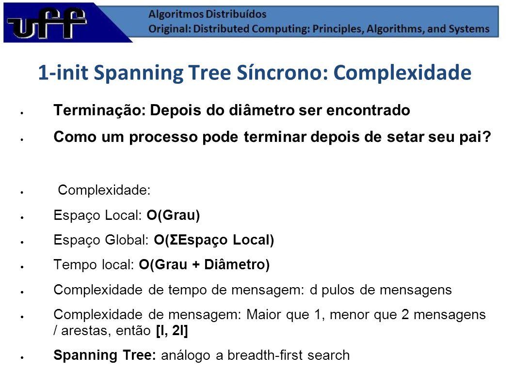 1-init Spanning Tree Síncrono: Complexidade Terminação: Depois do diâmetro ser encontrado Como um processo pode terminar depois de setar seu pai? Comp