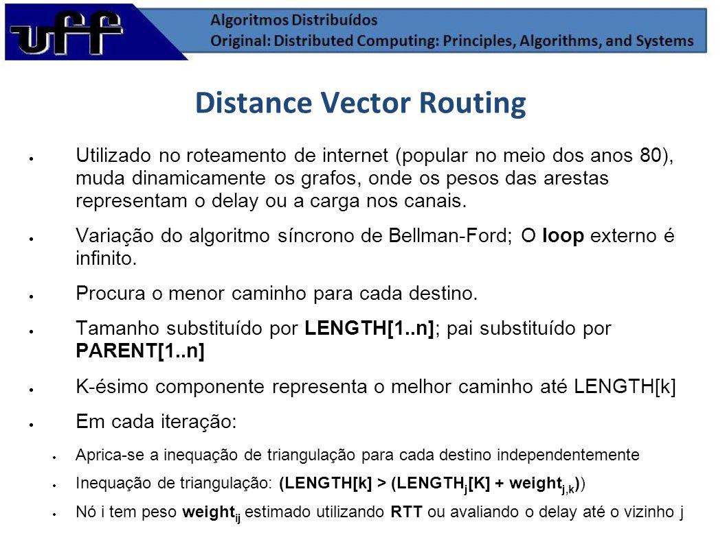 Distance Vector Routing Utilizado no roteamento de internet (popular no meio dos anos 80), muda dinamicamente os grafos, onde os pesos das arestas rep