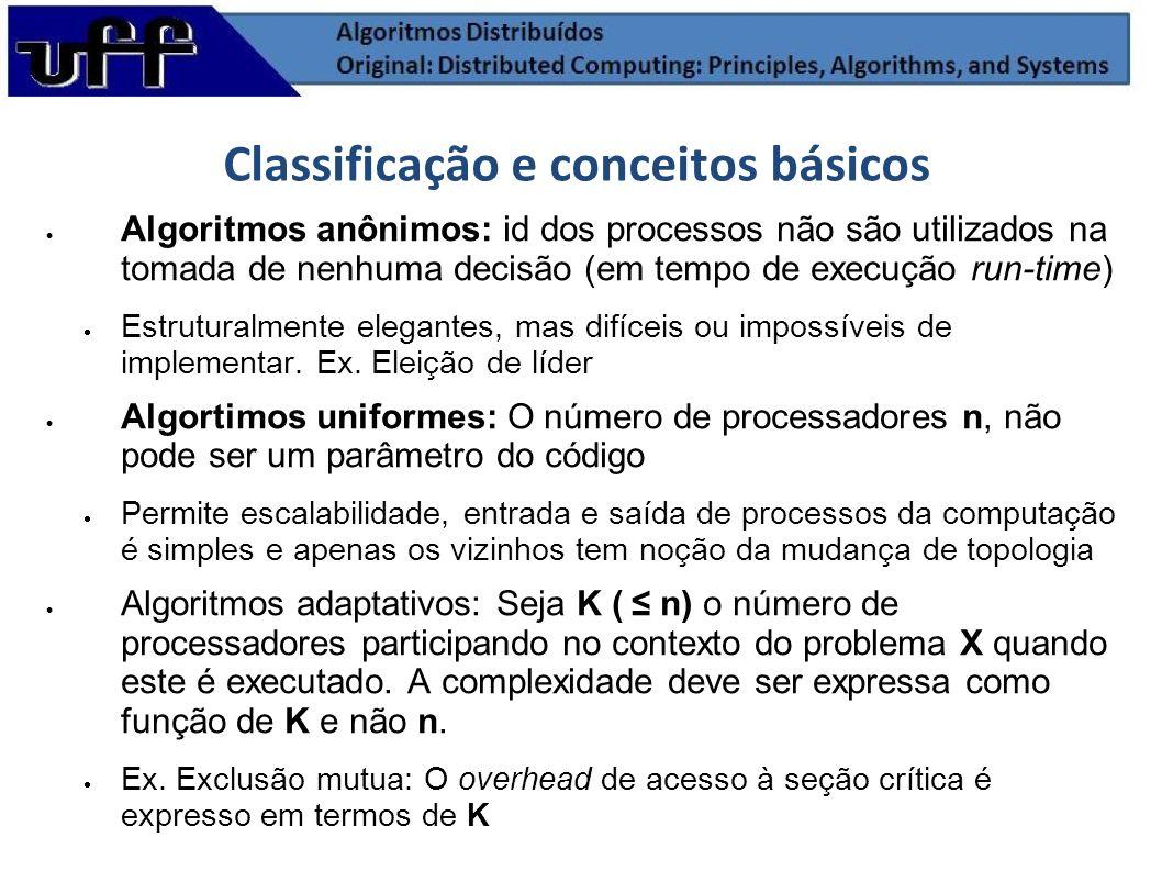 Classificação e conceitos básicos Algoritmos anônimos: id dos processos não são utilizados na tomada de nenhuma decisão (em tempo de execução run-time