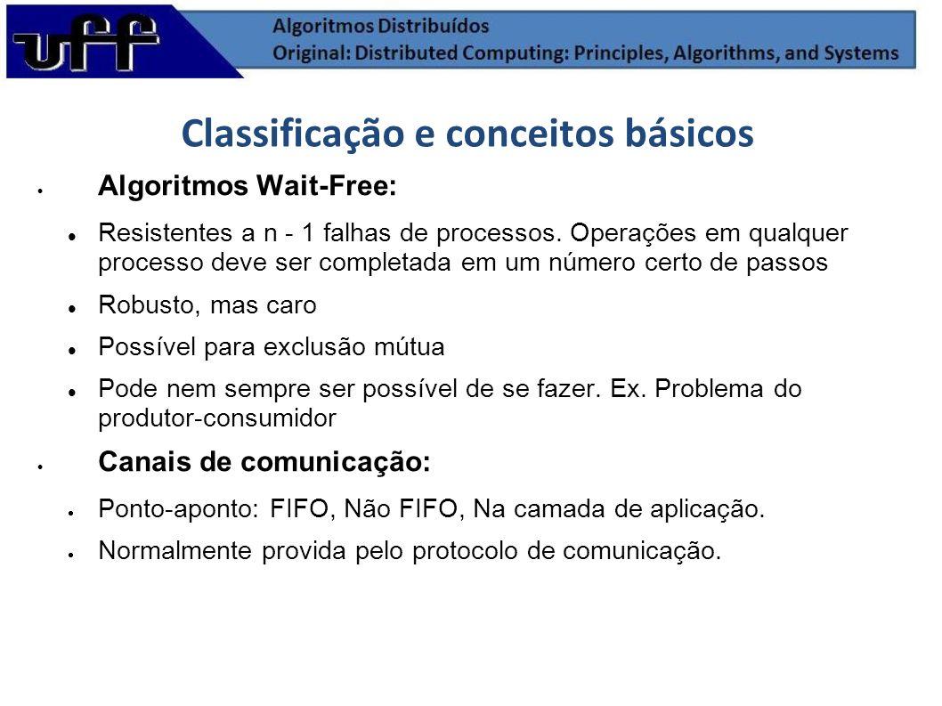 Classificação e conceitos básicos Algoritmos Wait-Free: Resistentes a n - 1 falhas de processos. Operações em qualquer processo deve ser completada em
