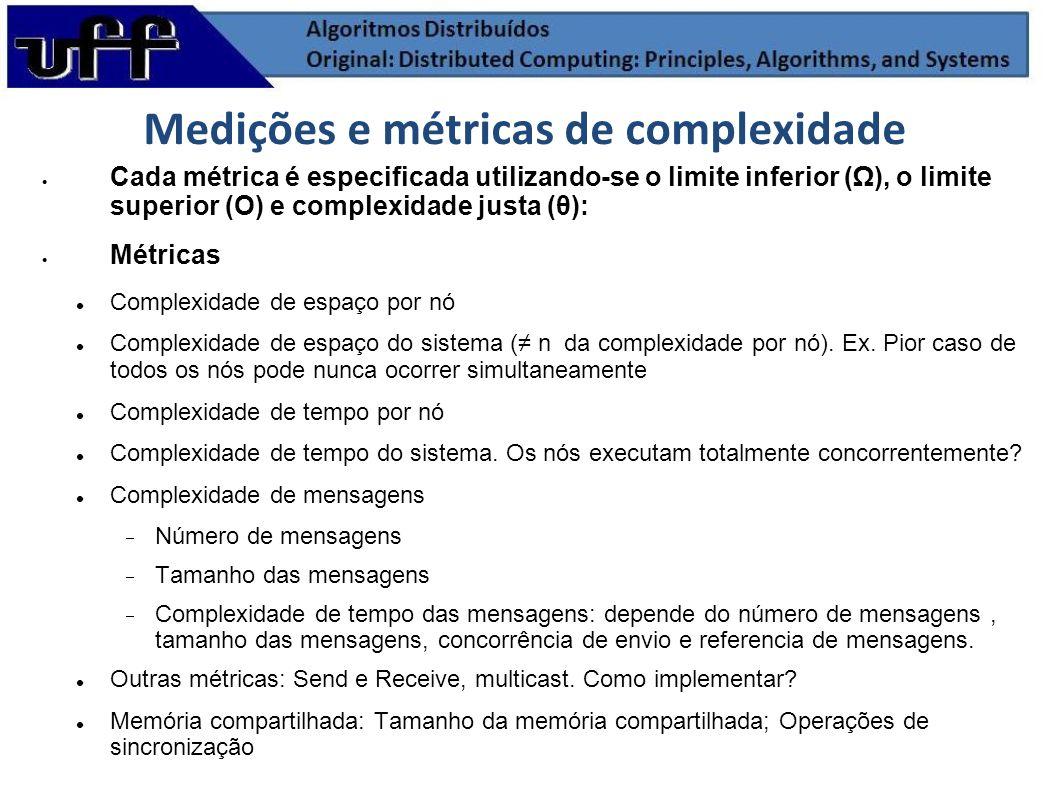 Medições e métricas de complexidade Cada métrica é especificada utilizando-se o limite inferior (), o limite superior (O) e complexidade justa (θ): Mé
