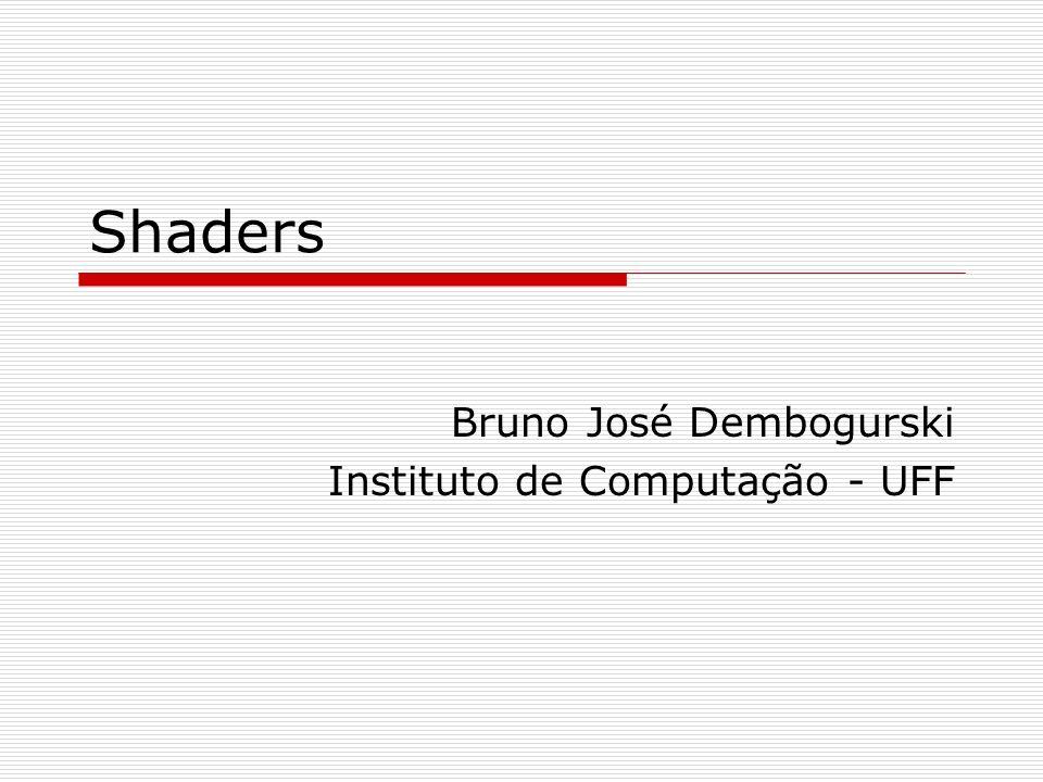 Exemplos e Códigos Toon shading Vertex shader varying vec3 normal; void main() { normal = gl_Normal; gl_Position = ftransform(); }