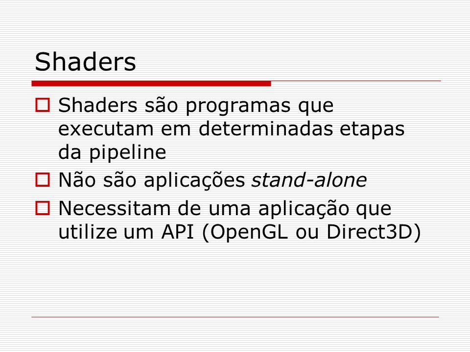 Shaders Shaders são programas que executam em determinadas etapas da pipeline Não são aplicações stand-alone Necessitam de uma aplicação que utilize u