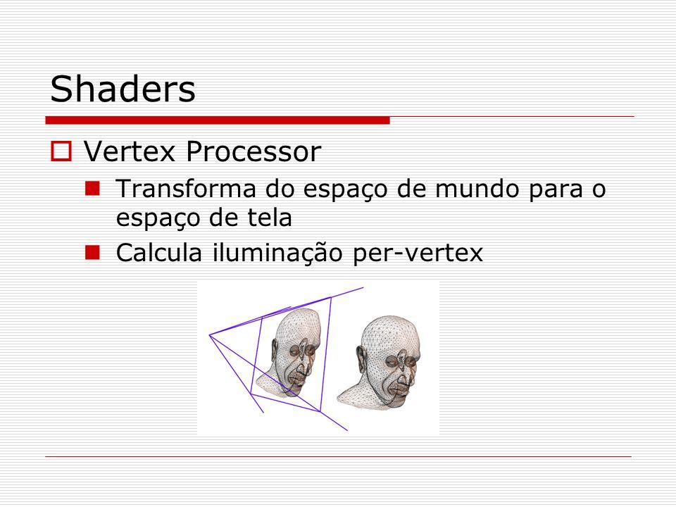 Shaders Vertex Processor Transforma do espaço de mundo para o espaço de tela Calcula iluminação per-vertex