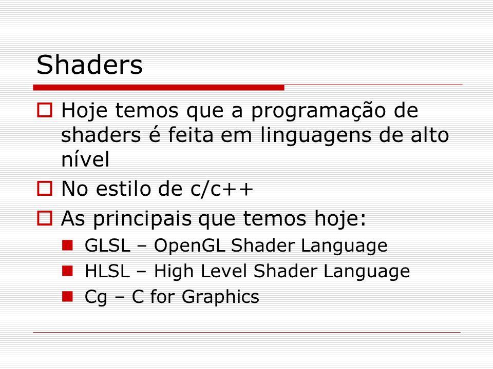 Shaders Hoje temos que a programação de shaders é feita em linguagens de alto nível No estilo de c/c++ As principais que temos hoje: GLSL – OpenGL Sha