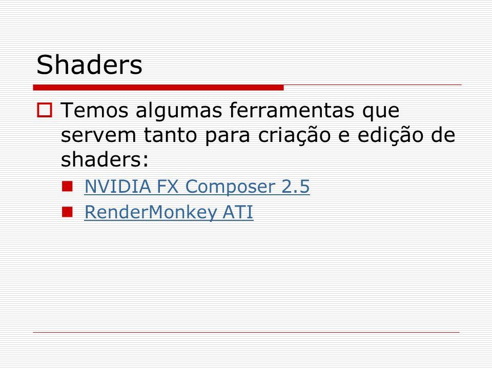 Shaders Temos algumas ferramentas que servem tanto para criação e edição de shaders: NVIDIA FX Composer 2.5 RenderMonkey ATI