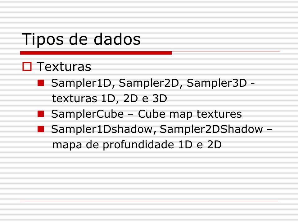 Tipos de dados Texturas Sampler1D, Sampler2D, Sampler3D - texturas 1D, 2D e 3D SamplerCube – Cube map textures Sampler1Dshadow, Sampler2DShadow – mapa