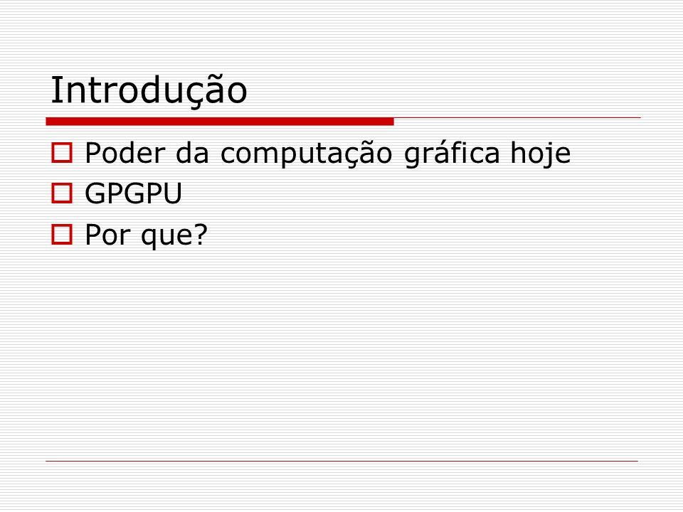 Introdução Poder da computação gráfica hoje GPGPU Por que?