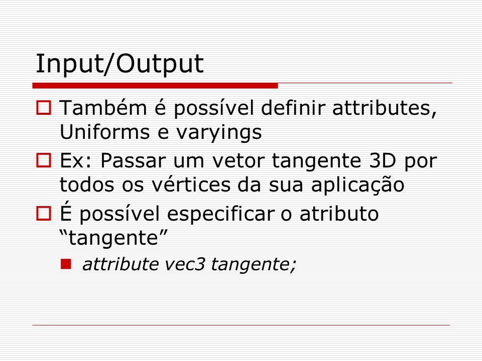 Input/Output Também é possível definir attributes, Uniforms e varyings Ex: Passar um vetor tangente 3D por todos os vértices da sua aplicação É possív