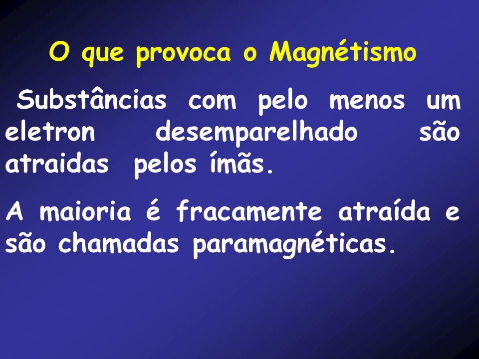 O que provoca o Magnétismo Substâncias com pelo menos um eletron desemparelhado são atraidas pelos ímãs. A maioria é fracamente atraída e são chamadas