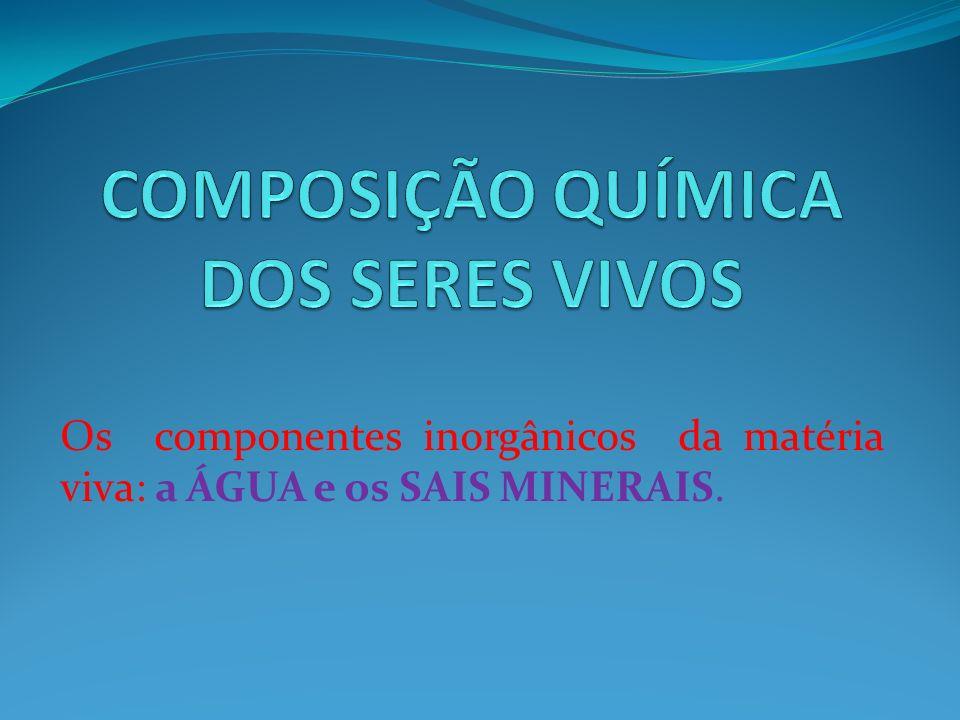 Os componentes inorgânicos da matéria viva: a ÁGUA e os SAIS MINERAIS.