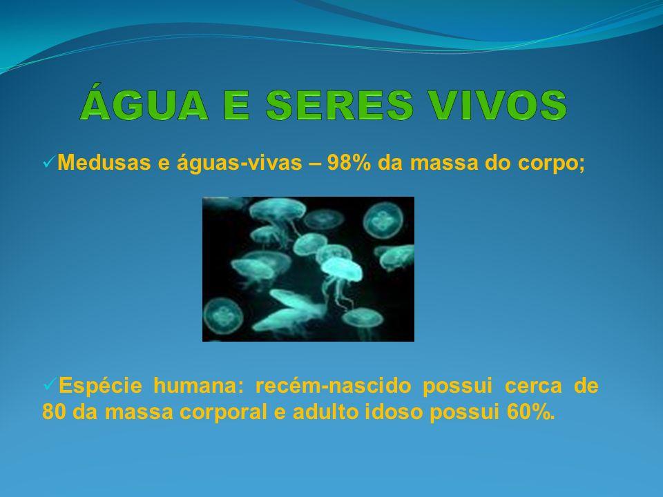 Medusas e águas-vivas – 98% da massa do corpo; Espécie humana: recém-nascido possui cerca de 80 da massa corporal e adulto idoso possui 60%.