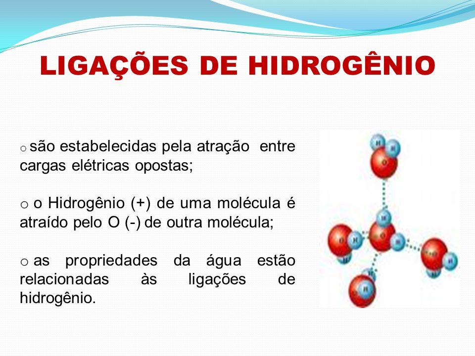 LIGAÇÕES DE HIDROGÊNIO o são estabelecidas pela atração entre cargas elétricas opostas; o o Hidrogênio (+) de uma molécula é atraído pelo O (-) de out