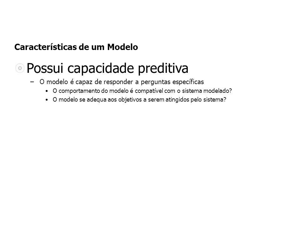 Características de um Modelo Possui capacidade preditiva –O modelo é capaz de responder a perguntas específicas O comportamento do modelo é compatível com o sistema modelado.