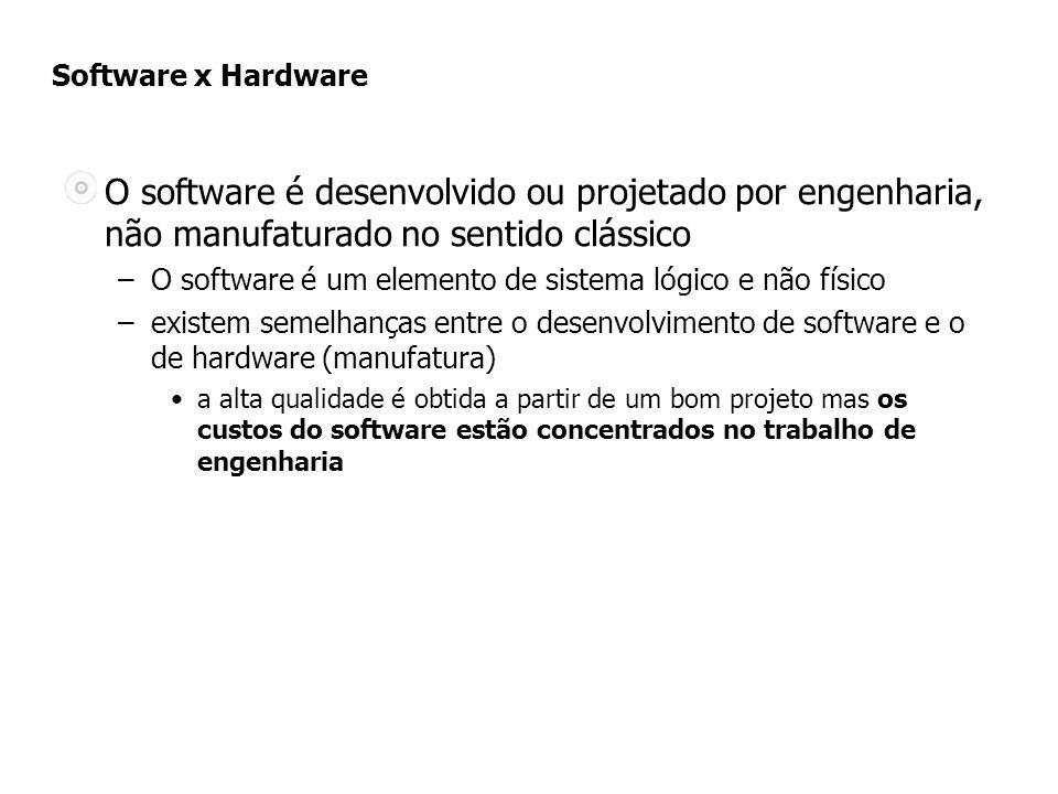 Software x Hardware O software é desenvolvido ou projetado por engenharia, não manufaturado no sentido clássico –O software é um elemento de sistema lógico e não físico –existem semelhanças entre o desenvolvimento de software e o de hardware (manufatura) a alta qualidade é obtida a partir de um bom projeto mas os custos do software estão concentrados no trabalho de engenharia