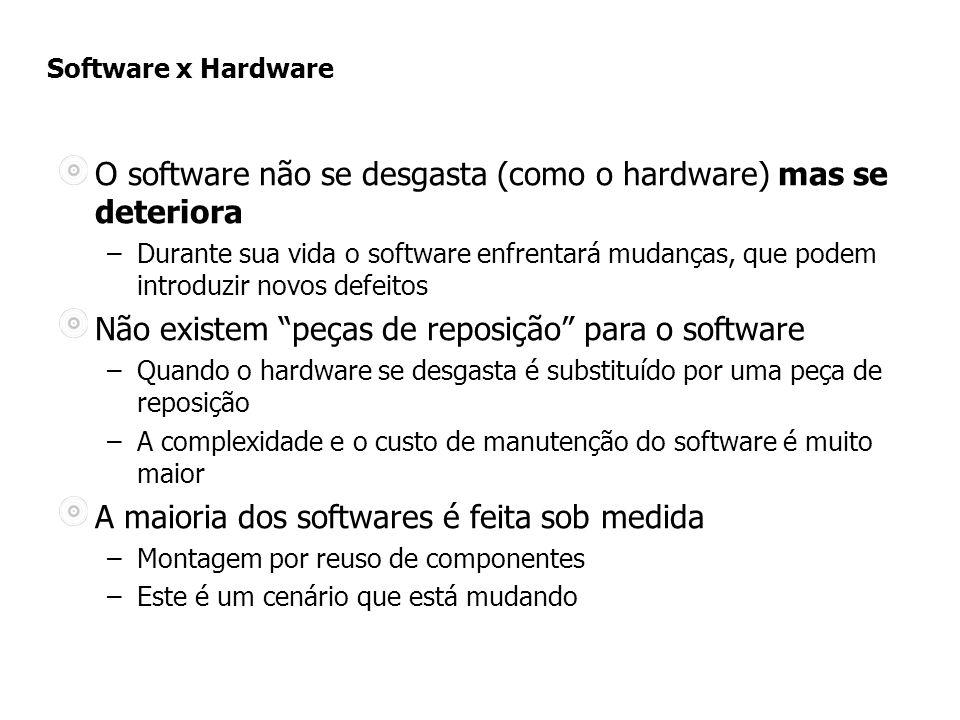 Software x Hardware O software não se desgasta (como o hardware) mas se deteriora –Durante sua vida o software enfrentará mudanças, que podem introduzir novos defeitos Não existem peças de reposição para o software –Quando o hardware se desgasta é substituído por uma peça de reposição –A complexidade e o custo de manutenção do software é muito maior A maioria dos softwares é feita sob medida –Montagem por reuso de componentes –Este é um cenário que está mudando