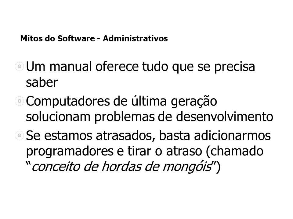 Mitos do Software - Administrativos Um manual oferece tudo que se precisa saber Computadores de última geração solucionam problemas de desenvolvimento Se estamos atrasados, basta adicionarmos programadores e tirar o atraso (chamadoconceito de hordas de mongóis)