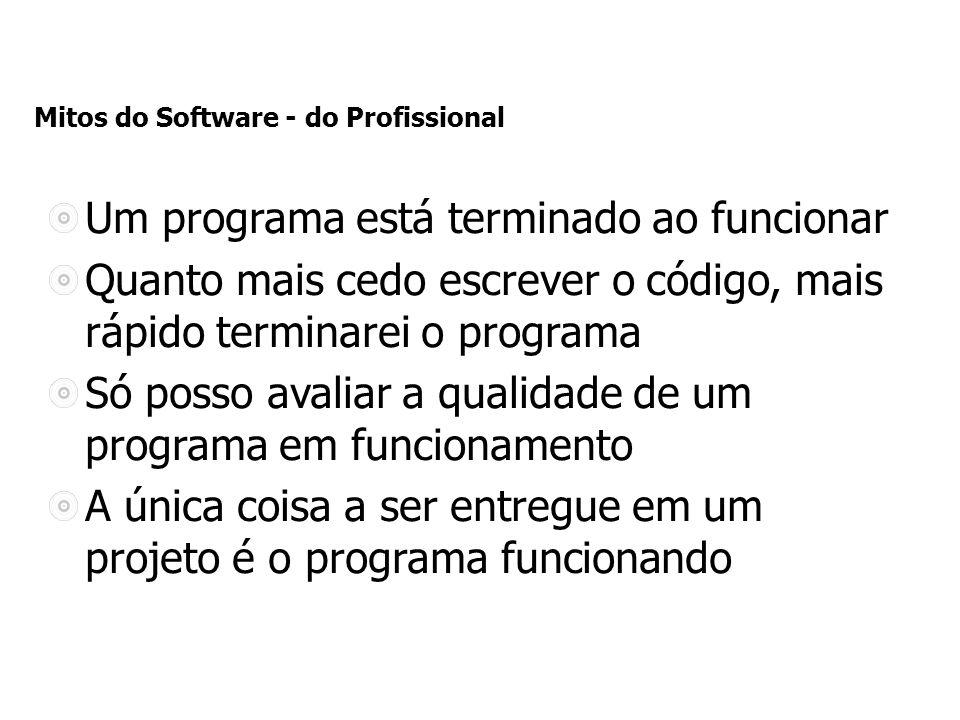 Mitos do Software - do Profissional Um programa está terminado ao funcionar Quanto mais cedo escrever o código, mais rápido terminarei o programa Só posso avaliar a qualidade de um programa em funcionamento A única coisa a ser entregue em um projeto é o programa funcionando
