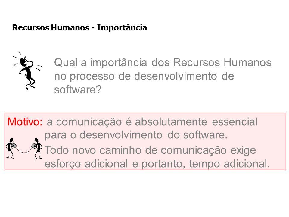 Recursos Humanos - Importância Qual a importância dos Recursos Humanos no processo de desenvolvimento de software.