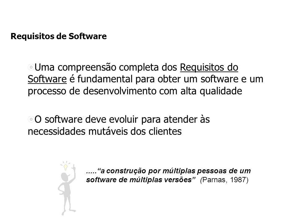Requisitos de Software Uma compreensão completa dos Requisitos do Software é fundamental para obter um software e um processo de desenvolvimento com alta qualidade O software deve evoluir para atender às necessidades mutáveis dos clientes.....a construção por múltiplas pessoas de um software de múltiplas versões (Parnas, 1987)