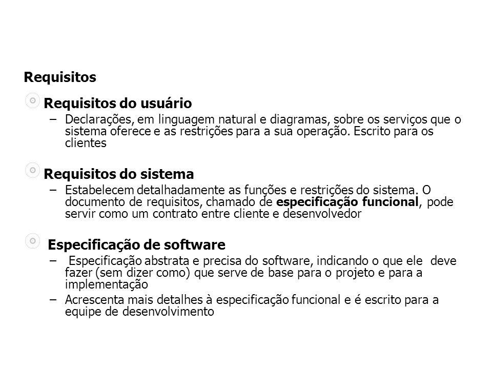 Requisitos do usuário –Declarações, em linguagem natural e diagramas, sobre os serviços que o sistema oferece e as restrições para a sua operação.