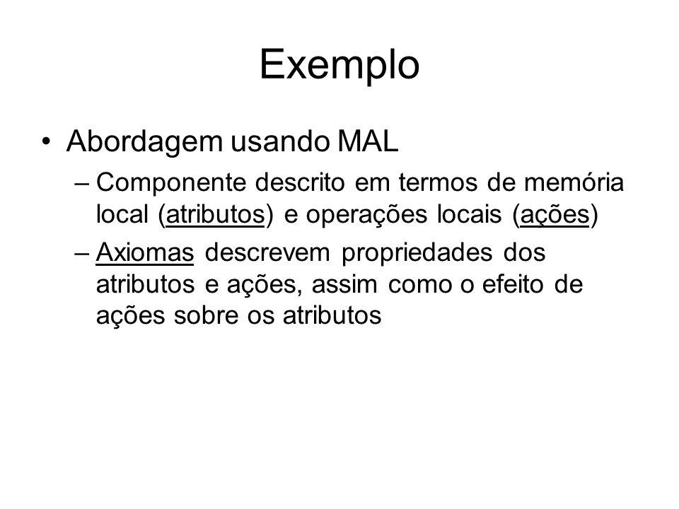 Abordagem usando MAL –Componente descrito em termos de memória local (atributos) e operações locais (ações) –Axiomas descrevem propriedades dos atributos e ações, assim como o efeito de ações sobre os atributos