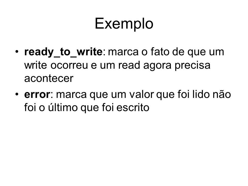 Exemplo ready_to_write: marca o fato de que um write ocorreu e um read agora precisa acontecer error: marca que um valor que foi lido não foi o último que foi escrito