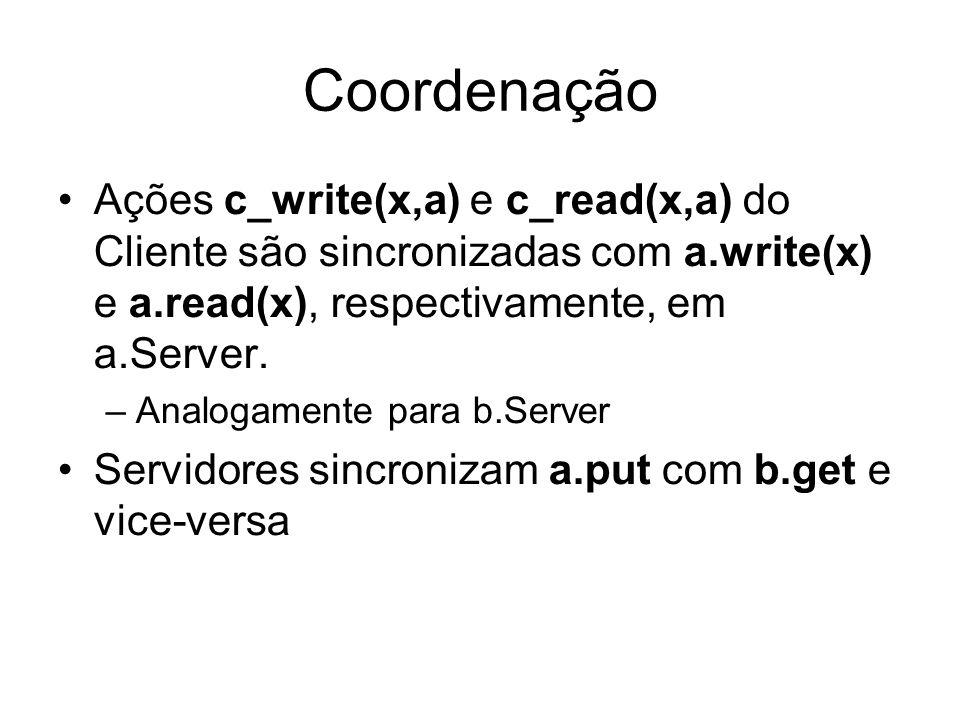 Coordenação Ações c_write(x,a) e c_read(x,a) do Cliente são sincronizadas com a.write(x) e a.read(x), respectivamente, em a.Server.