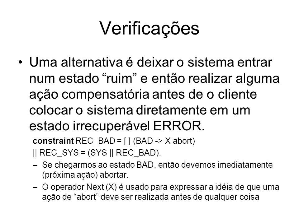 Verificações Uma alternativa é deixar o sistema entrar num estado ruim e então realizar alguma ação compensatória antes de o cliente colocar o sistema diretamente em um estado irrecuperável ERROR.