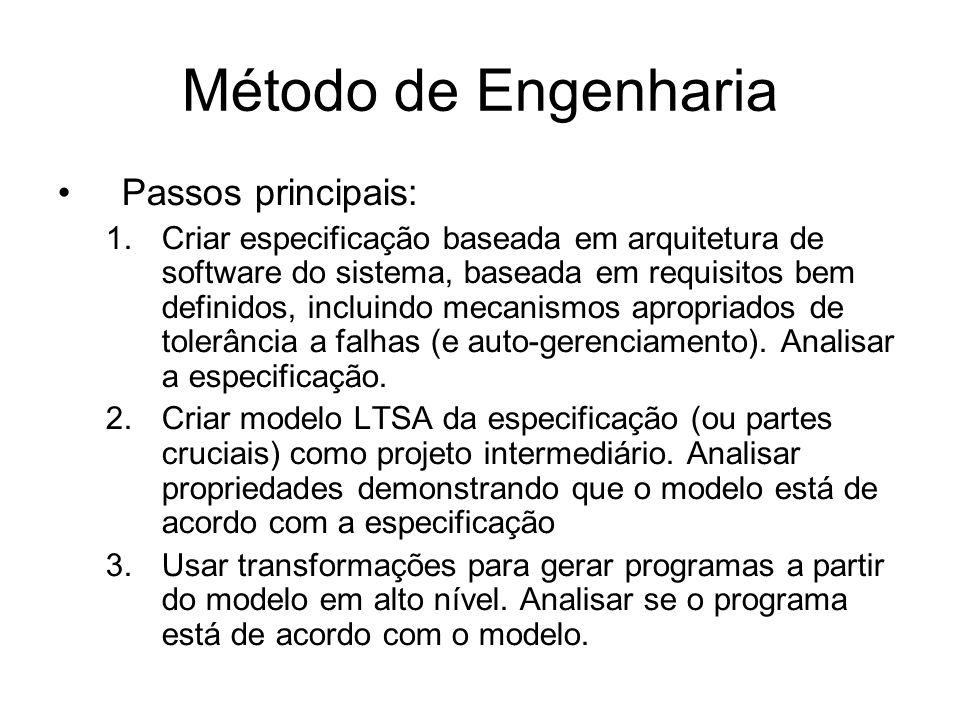 Método de Engenharia Passos principais: 1.Criar especificação baseada em arquitetura de software do sistema, baseada em requisitos bem definidos, incluindo mecanismos apropriados de tolerância a falhas (e auto-gerenciamento).
