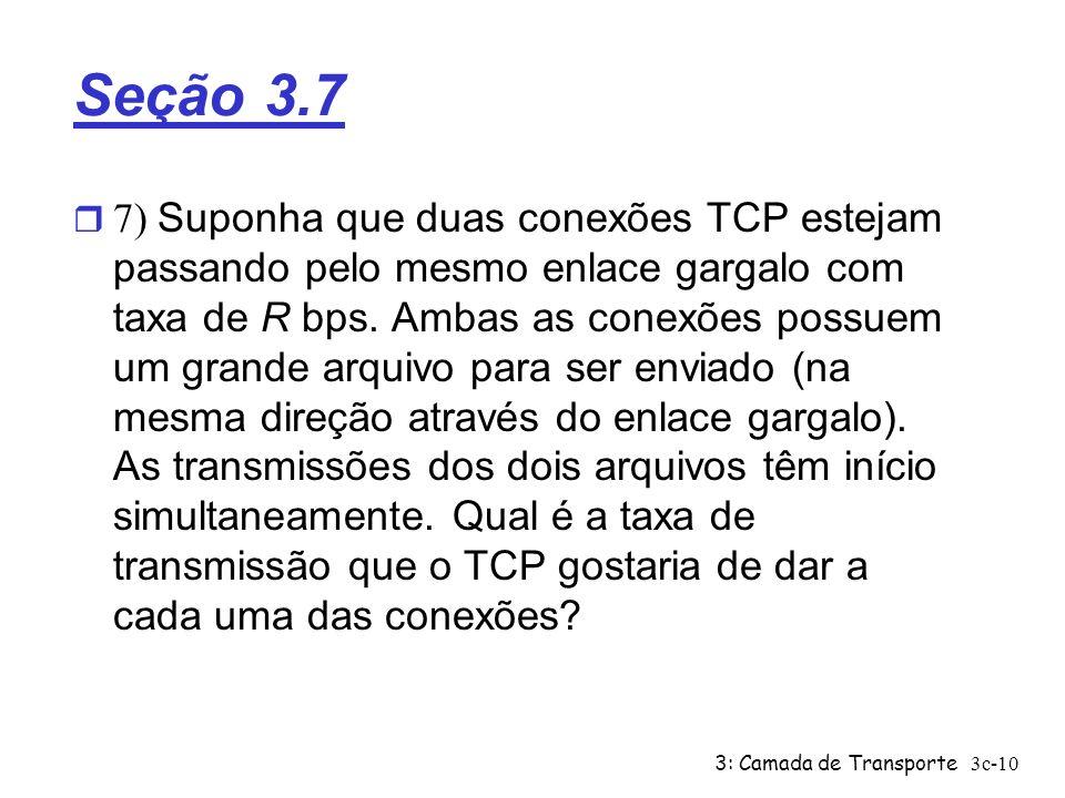 3: Camada de Transporte3c-10 Seção 3.7 7) Suponha que duas conexões TCP estejam passando pelo mesmo enlace gargalo com taxa de R bps. Ambas as conexõe