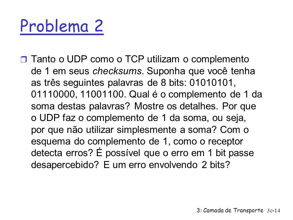 3: Camada de Transporte3c-14 Problema 2 r Tanto o UDP como o TCP utilizam o complemento de 1 em seus checksums. Suponha que você tenha as três seguint