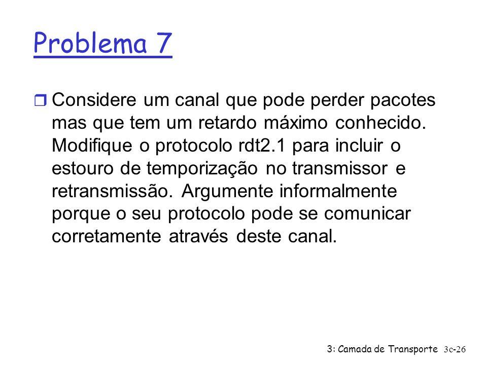 3: Camada de Transporte3c-26 Problema 7 r Considere um canal que pode perder pacotes mas que tem um retardo máximo conhecido. Modifique o protocolo rd