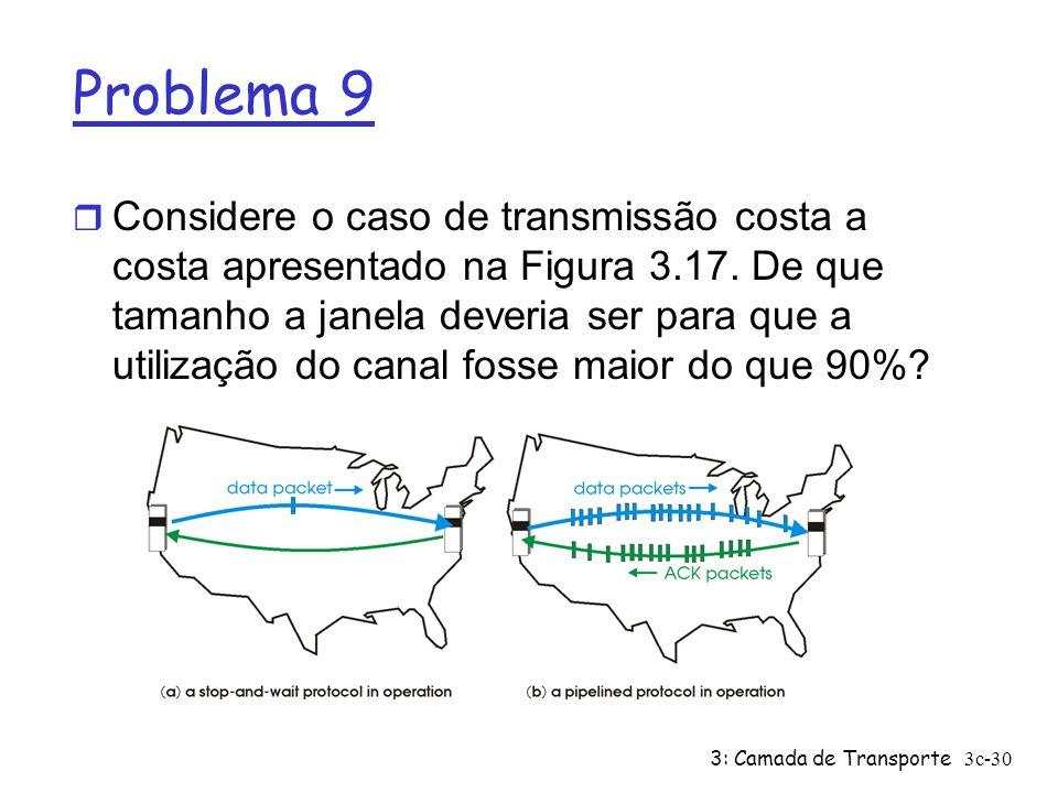 3: Camada de Transporte3c-30 Problema 9 r Considere o caso de transmissão costa a costa apresentado na Figura 3.17. De que tamanho a janela deveria se