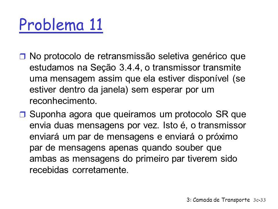 3: Camada de Transporte3c-33 Problema 11 r No protocolo de retransmissão seletiva genérico que estudamos na Seção 3.4.4, o transmissor transmite uma m