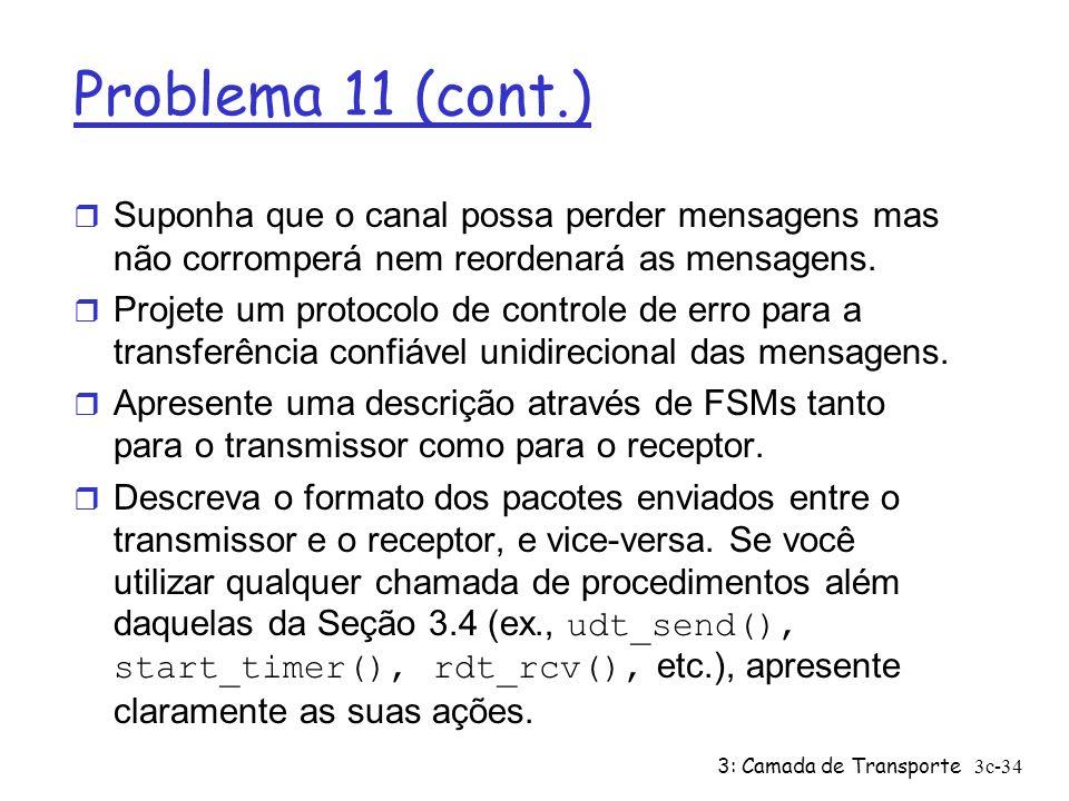 3: Camada de Transporte3c-34 Problema 11 (cont.) r Suponha que o canal possa perder mensagens mas não corromperá nem reordenará as mensagens. r Projet