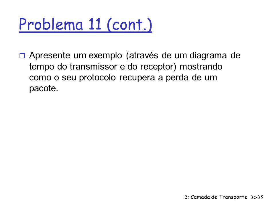3: Camada de Transporte3c-35 Problema 11 (cont.) r Apresente um exemplo (através de um diagrama de tempo do transmissor e do receptor) mostrando como
