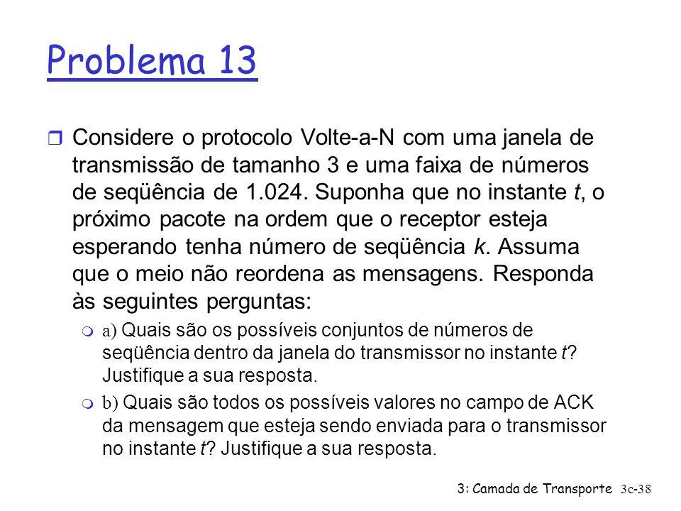 3: Camada de Transporte3c-38 Problema 13 r Considere o protocolo Volte-a-N com uma janela de transmissão de tamanho 3 e uma faixa de números de seqüên