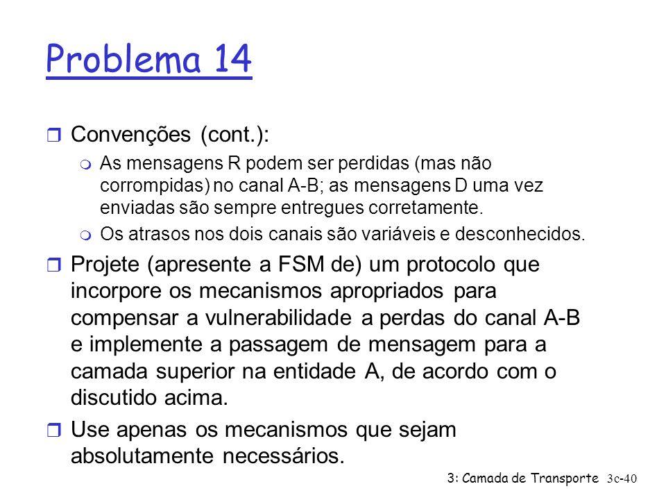 3: Camada de Transporte3c-40 Problema 14 r Convenções (cont.): m As mensagens R podem ser perdidas (mas não corrompidas) no canal A-B; as mensagens D