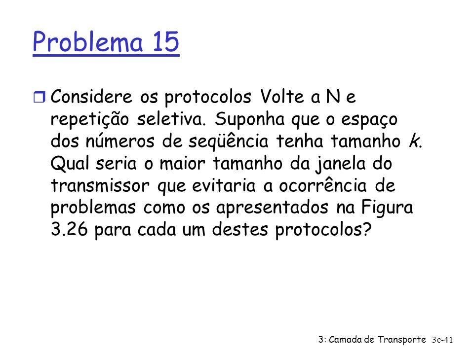 3: Camada de Transporte3c-41 Problema 15 r Considere os protocolos Volte a N e repetição seletiva. Suponha que o espaço dos números de seqüência tenha