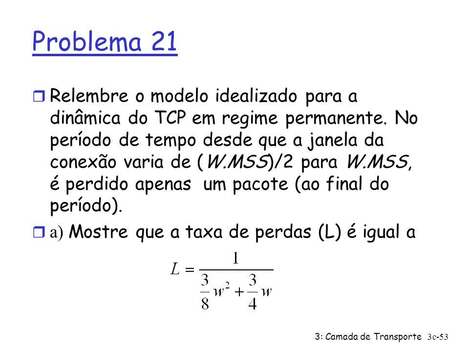 3: Camada de Transporte3c-53 Problema 21 r Relembre o modelo idealizado para a dinâmica do TCP em regime permanente. No período de tempo desde que a j