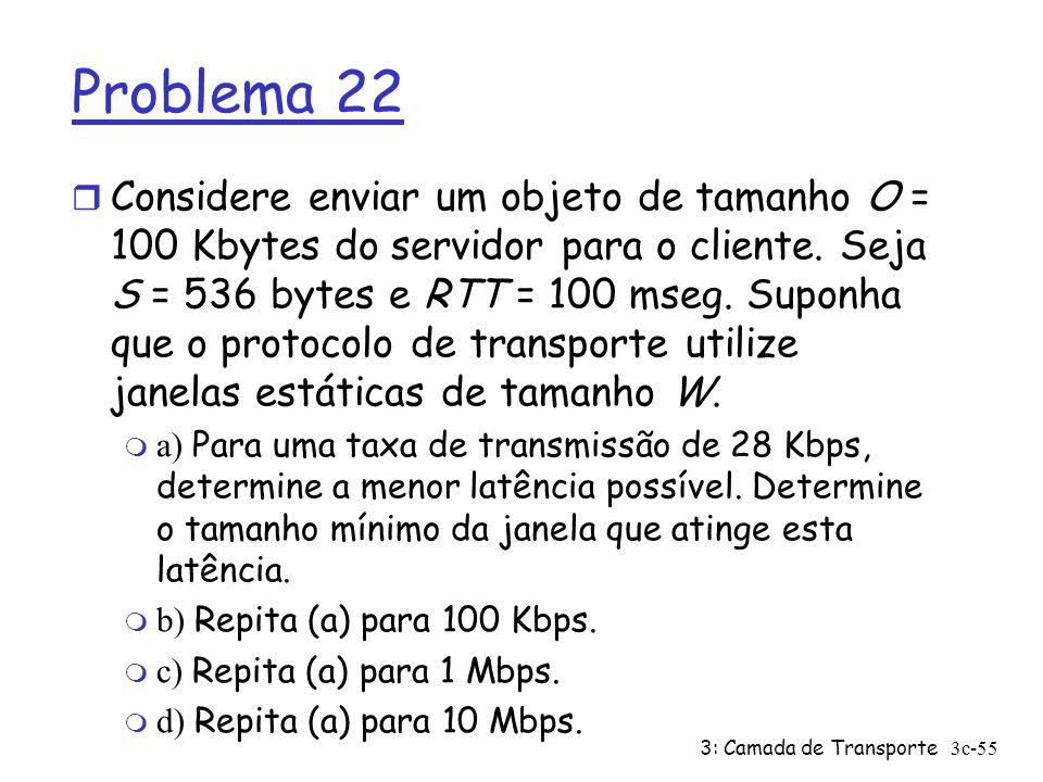 3: Camada de Transporte3c-55 Problema 22 r Considere enviar um objeto de tamanho O = 100 Kbytes do servidor para o cliente. Seja S = 536 bytes e RTT =